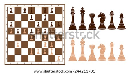chess and board - stock vector
