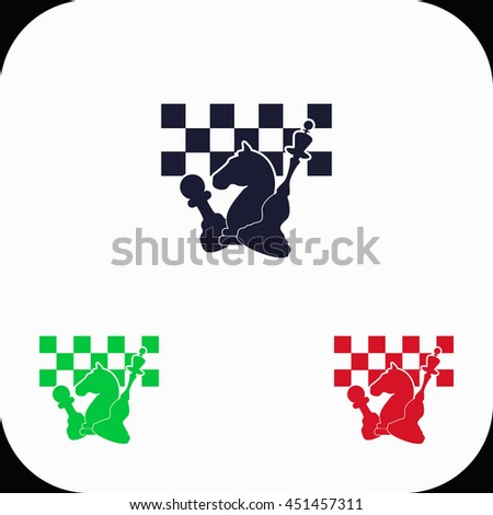 Chess board and pieces Illustration set. Blue, green, red icon. - stock vector