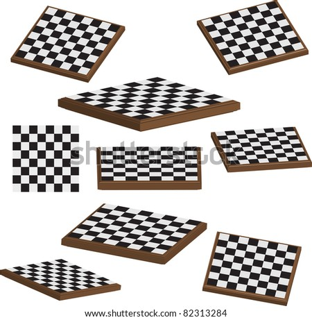 Chess board set 3d vector illustration - stock vector
