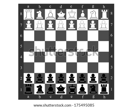Chess board with chess pieces on a white background - stock vector