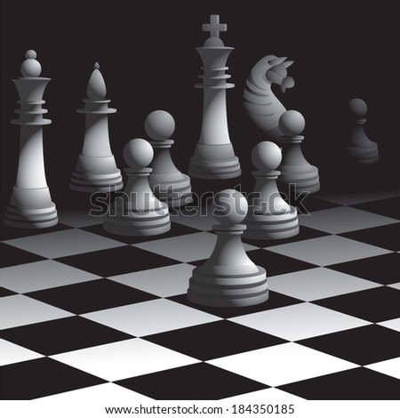Chess board with figures. Vector illustration - stock vector