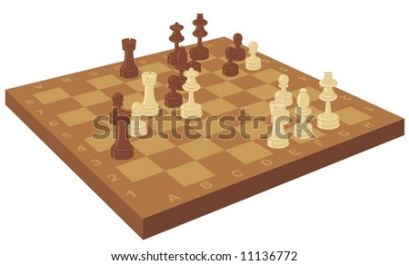 Chess board with pieces - stock vector