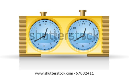 Chess clock isolated on white background. - stock vector