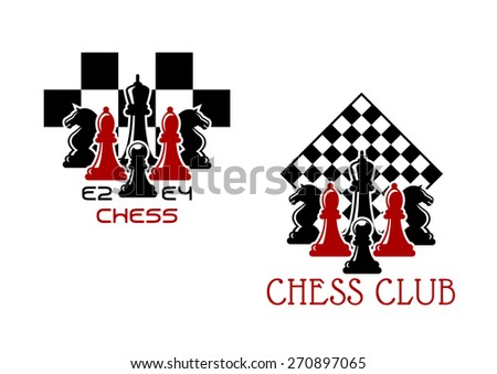 Chess club sport emblems or symbols with chessmen ant turned chess board - stock vector