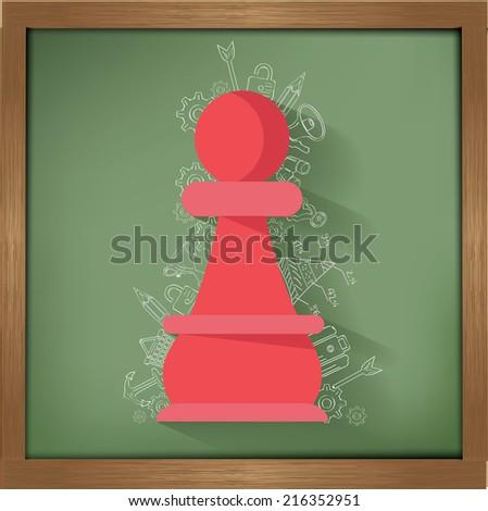 Chess design on blackboard background,clean vector - stock vector