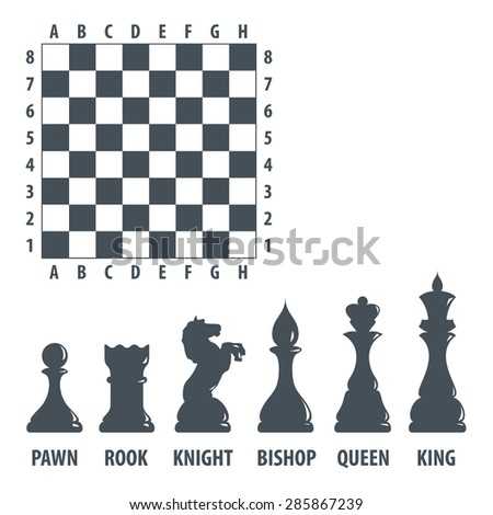 Chess figures and board. Vector set. Isolated on white - stock vector