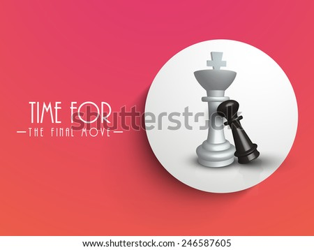 Chess figures king and pawn in circle on red background, can be use as sticker, tag or label. - stock vector