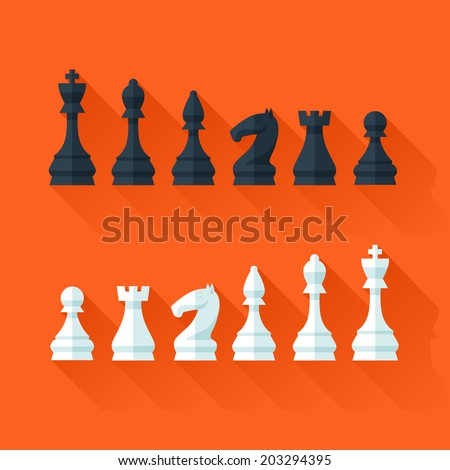 Chess figures set in flat modern style for design concept and web design. Vector illustration. - stock vector
