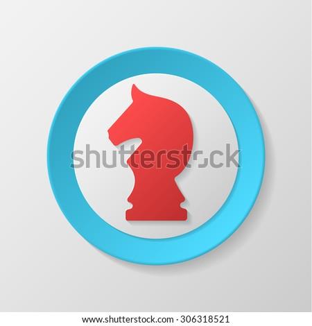 Chess icon. Knight convex icon. - stock vector