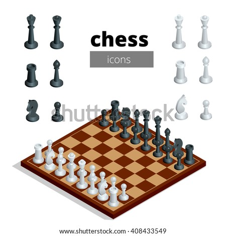 Chess icons. Flat 3d isometric vector illustration. White board with chess figures on it. Intelligent, strategic game.  - stock vector