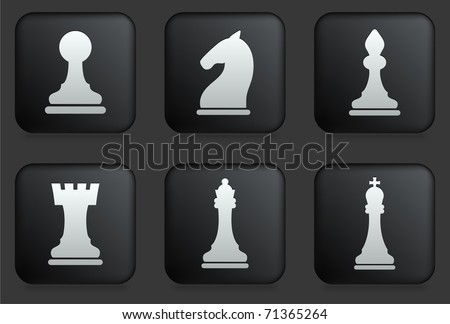 Chess Icons on Square Black Button Collection Original Illustration - stock vector