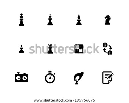 Chess icons on white background. Vector illustration. - stock vector