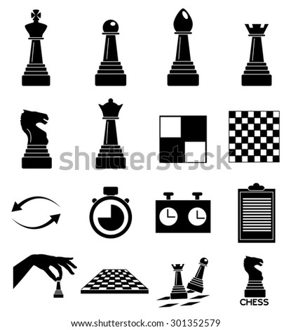 Chess icons set - stock vector