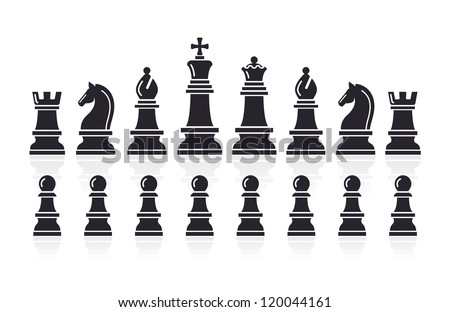 Chess icons. Vector Illustration. - stock vector
