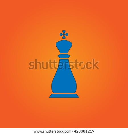 Chess king. Blue flat icon with black stroke on orange background. Collection concept vector pictogram for infographic project and logo - stock vector