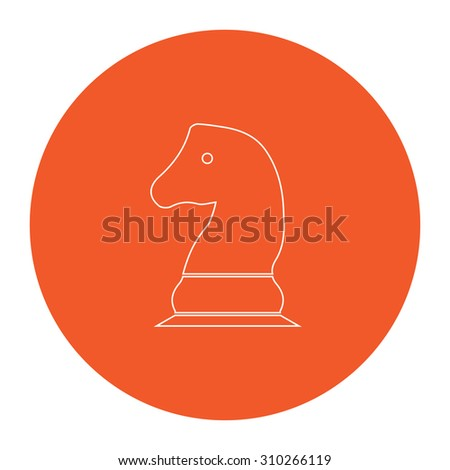Chess knight. Flat outline white pictogram in the orange circle. Vector illustration icon