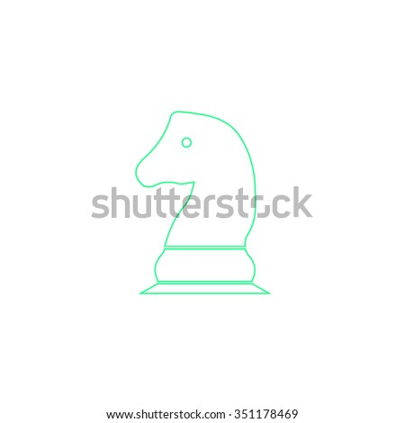 Chess knight Outline vector icon on white. Line symbol pictogram