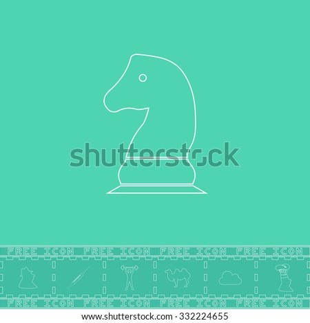 Chess knight. White outline flat symbol and bonus icon. Simple vector illustration pictogram on green background