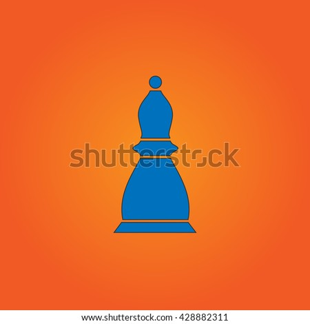 Chess officer. Blue flat icon with black stroke on orange background. Collection concept vector pictogram for infographic project and logo - stock vector