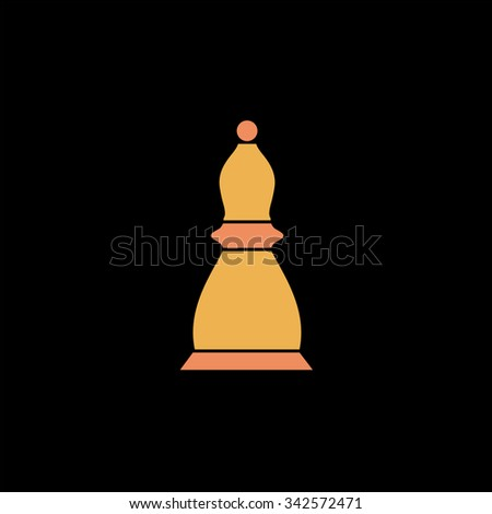 Chess officer. Color vector icon on black background - stock vector