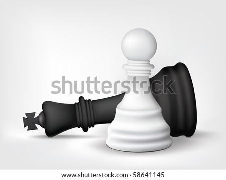 Chess Pawn and King Isolated on White. Vector. - stock vector