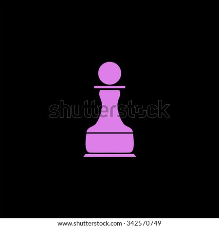 Chess Pawn. Color vector icon on black background - stock vector