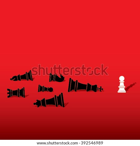 chess pawn defeat opposite team member and feel like king concept design vector - stock vector