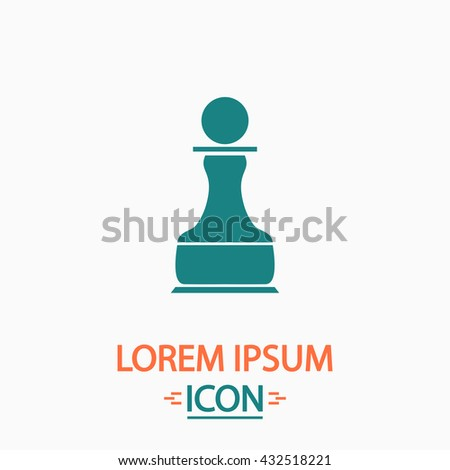 Chess Pawn Flat icon on white background. Simple vector illustration - stock vector