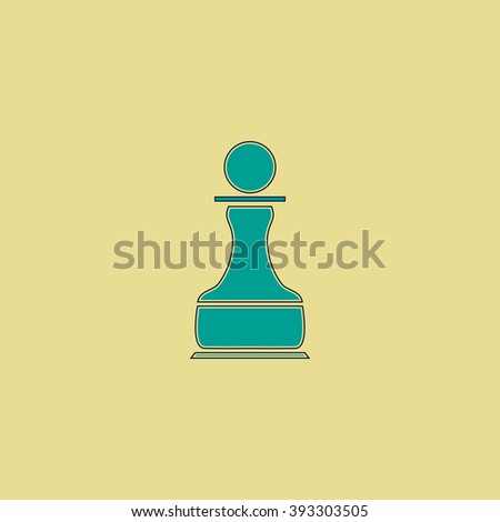 Chess Pawn Flat line icon on yellow background. Vector pictogram with stroke - stock vector