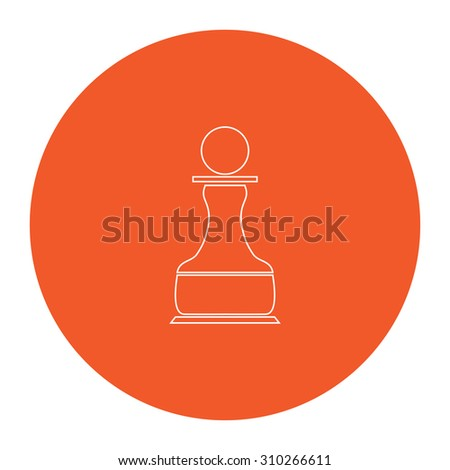 Chess Pawn. Flat outline white pictogram in the orange circle. Vector illustration icon - stock vector