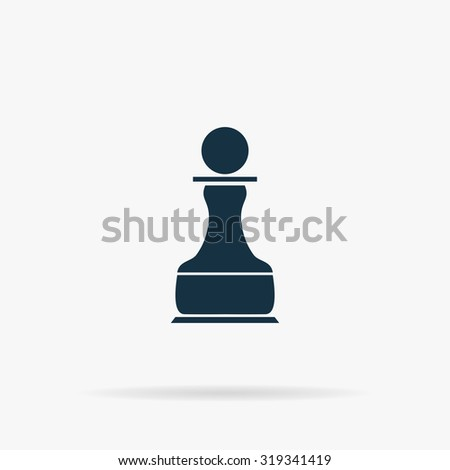 Chess Pawn. Flat vector web icon or sign on grey background with shadow. Collection modern trend concept design style illustration symbol - stock vector