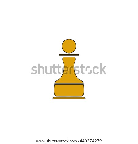 Chess Pawn Flat yellow thin line symbol on white background. Vector icon - stock vector