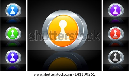 Chess Pawn Icon on 3D Button with Metallic Rim Original Illustration  - stock vector