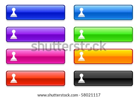 Chess Pawn Icon on Long Button Collection Original Illustration - stock vector