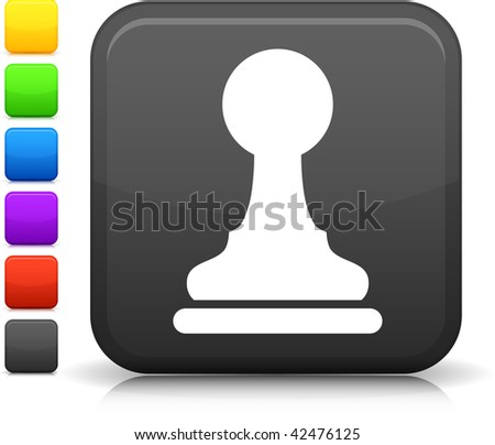 chess pawn icon on square internet button  Six color options included. - stock vector