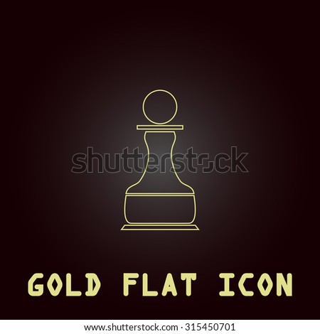 Chess Pawn. Outline gold flat pictogram on dark background with simple text.Vector Illustration trend icon - stock vector