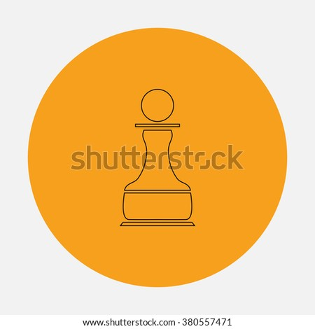 Chess Pawn Outline vector icon on orange circle. Flat line symbol pictogram  - stock vector