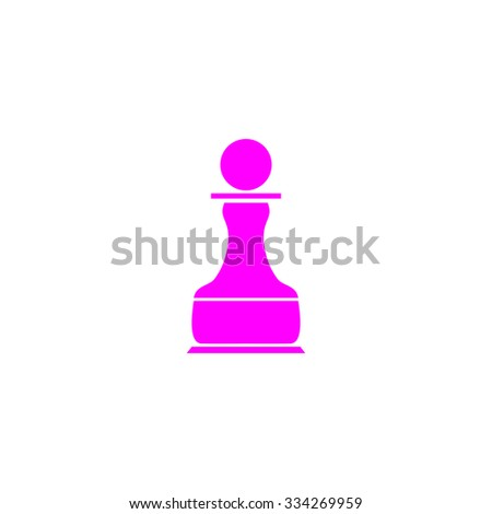 Chess Pawn. Pink flat icon. Simple vector illustration pictogram on white background - stock vector