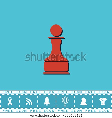 Chess Pawn. Red flat symbol with dark shadow and bonus icon. Simple vector illustration pictogram on blue background - stock vector
