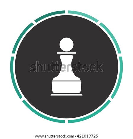 Chess Pawn Simple flat white vector pictogram on black circle. Illustration icon - stock vector
