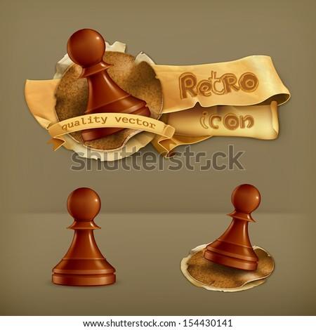 Chess Pawn, vector icon - stock vector