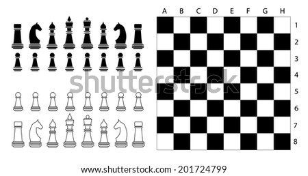 Chess pieces and game board - stock vector