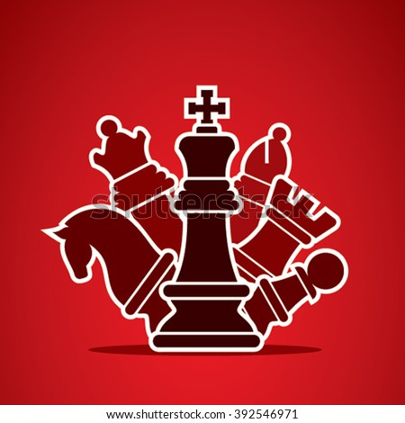 chess pieces arrange in style manner design vector  - stock vector