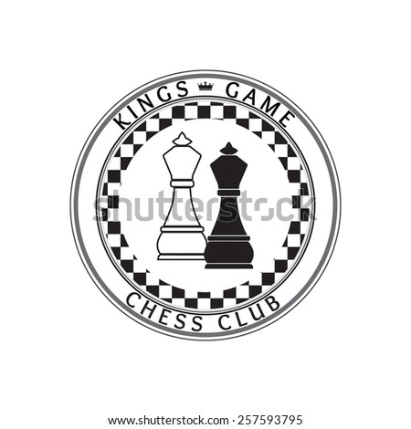 Chess pieces business sign & corporate identity template for Chess club or Chess school. White & Black chess king pieces vector icon. Crown icon. Sample text. Editable.  - stock vector