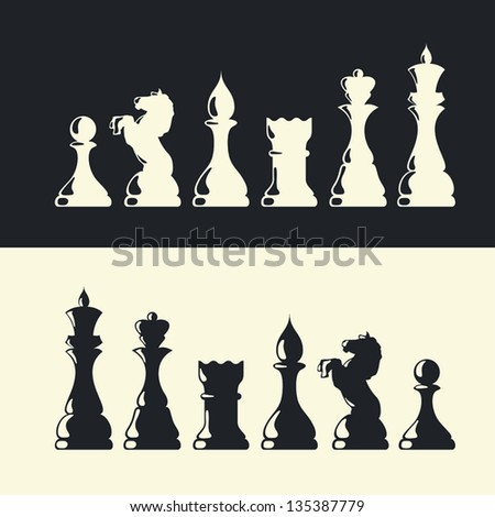 Chess pieces collection. Vector - stock vector