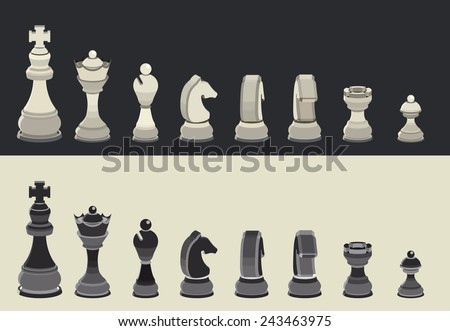 Chess pieces in black and white collection, Set of isometric style chess figures, Draughts, illustration vector - stock vector