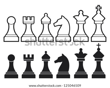 chess pieces including king, queen, rook, pawn, knight, and bishop (chess icons, vector set of chess pieces, chess figures) - stock vector