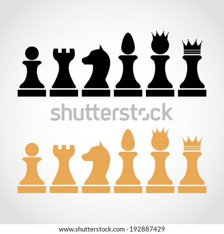 Chess Pieces Including King Queen Rook Pawn Knight Bishop Icons, vector set of chess pieces, chess figures - stock vector