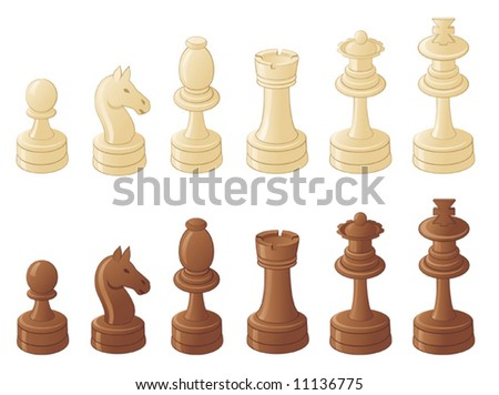 Chess pieces isolated on white - stock vector