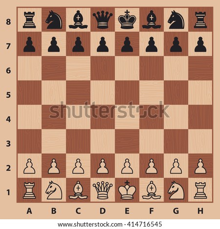 Chess pieces on a chess board. Vector illustration